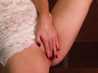 Lovemaking on the table, the lady faps and plays with the faux-cock