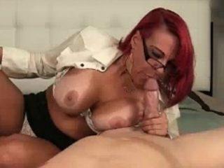 Mom Deepthroates His Cock As He Spurts Buckets Of Cum