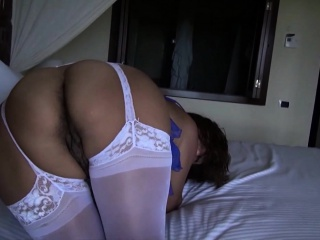 Kinky housewife puts on her sexy lingerie and displays her