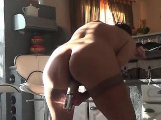Lustful grandma in stockings making herself cum hard in the