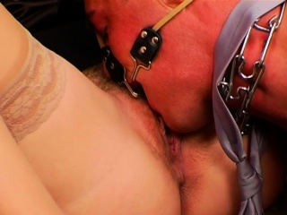 Dominatrix-bitch deep-throats slave's firm cock and rails him harsh