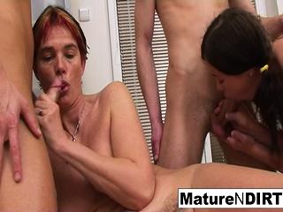 Insatiable mature super-bitch gets DP'd in a four-way