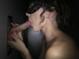 My wifey loving the gloryhole in her mask