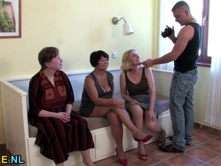 Lucky guy fucks three mature sluts