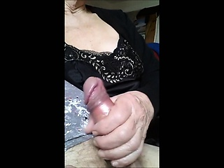 Granny Stroking his cock like a pro