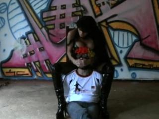 Mean domina wraps up her bondman and tantalizes his cumbot