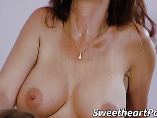 Huge-titted mommy trains youthfull dyke the way of the muff eating