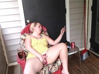 Smoking Milf Fucks Pizza lad POV