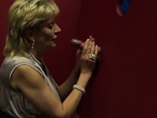 Huge-boobed brit mature female Sonia visits a gloryhole