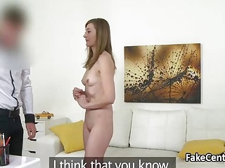 Shy milf fucking and sucking cock on casting