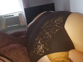 wifes big hairy ass in black girdle, feet