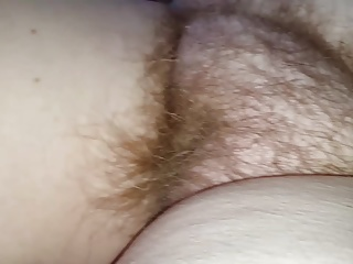 close up of my bbw wifes real natural hairy bush