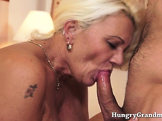 Blonde grandma suck young cock