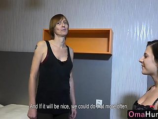 OMAHUNTER  Two lesbians are playing with tits