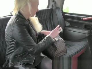 I boy pulverizes ash-blonde cougar with yam-sized titties in his taxi