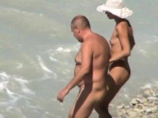 Skinny wife fucked on voyeur beach by fat hubby