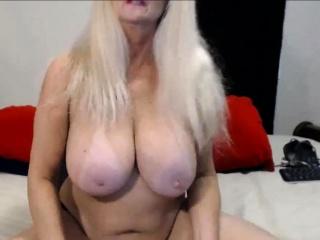 Prodding 60 super-hot Canadian platinum-blonde grandma with immense orbs