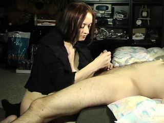 Passionate redhead wife flashes her nice tits and pleases a