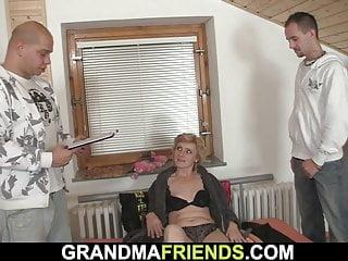 Petite breasted slender senior dame satiates 2 folks