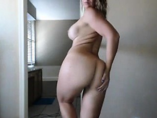 Wild blonde mom with big hooters and a sublime ass plays wi