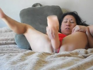 Horny sexy mature amateur asian toys pussy