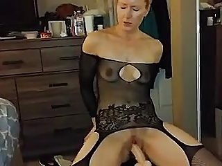 Real amateur Mormon wife soccer mom rides huge dildo