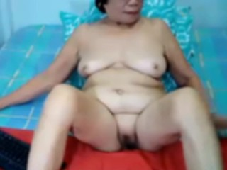 Filipina granny in like manner the brush error-free boobs togetthe brush with shaved blad pussy vulnerable webcam