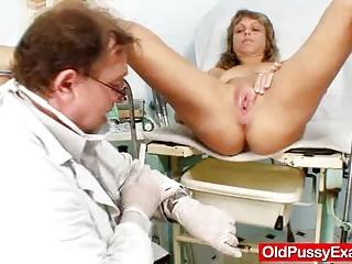 Thin lady naughty twat gyno inspection