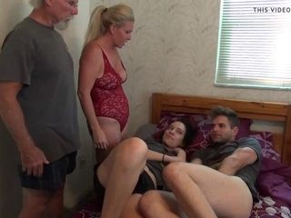 Big-titted mother lures and humps daughters-in-law beau in petite sofa