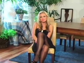 Hotty with furry pussy squirms in stockings unsheathing goodies