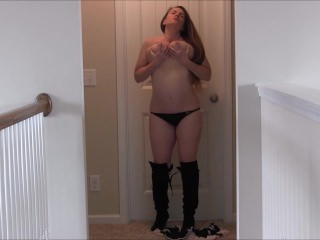 ***Custom***Black Boots On Masturbation