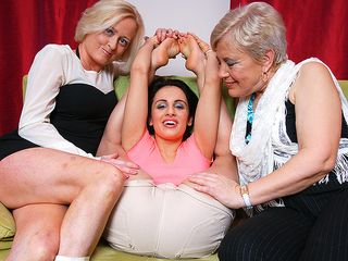 3 aged and youthful lezzies go ultra-kinky on the bed