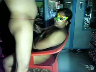 I fuck my chubby and horny Indian wife in mask on the chair