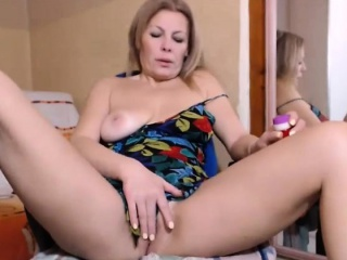 Hot blonde housewife masturbating