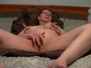 My nasty mature wife masturbates with fingers and big vibrator