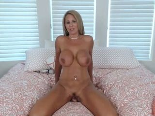 Blond milf with astounding mammories takes all ten inches