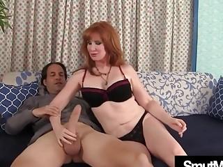 Mature Redhead fucks young guy