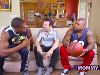 Basketball tv game turns into a super-steamy three way with light-haired cougar