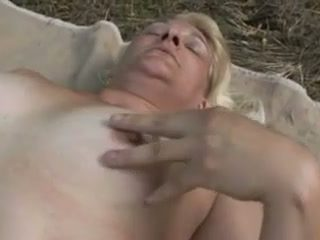 Sexy granny gets my dick inside her cunt in the forest