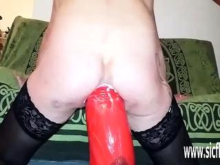 Gargantuan rectal faux-cock smashed first-timer wifey