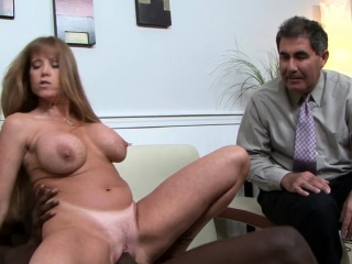 Huge-titted mature pummeled by big black cock in front of spouse