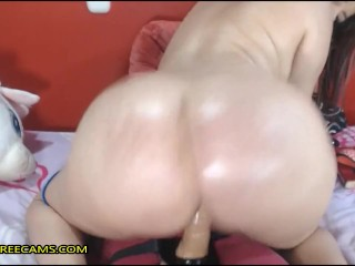 Fat aggravation latina MILF twerks added to toys their way pussy