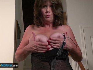 Horny Mature Jade in evening dress masturbate