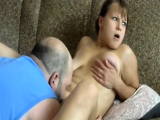 Loving spouse licks his woman's shaved gaping tunnel of love