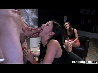 Whores putting their Mouths all over strippers Cock