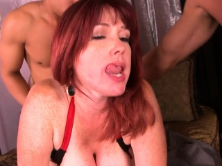 Good-sized mammories cougar double penetration with jizz flow