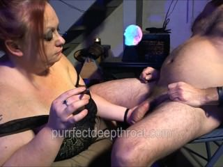 Redhead BBW smokes cigar and cock