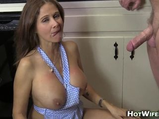 Hot MILF at hand kitchenette