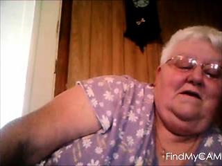 Web cam flash from plus-size grannie