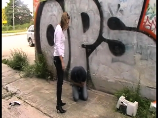 Female dom Brats crushes fellows outdoor